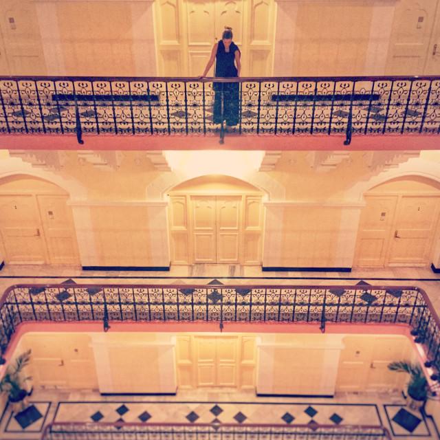 """Palace Wing Staircase, Taj Mahal Palace Hotel"" stock image"