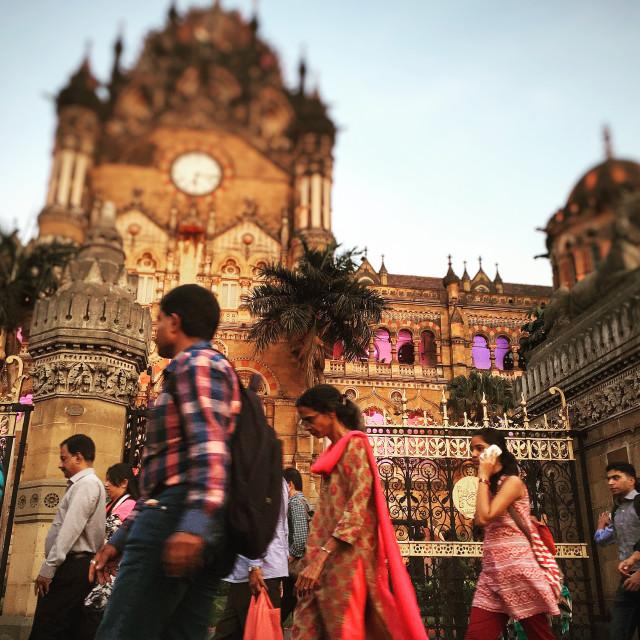"""Pedestrians at Mumbai CST (Victoria Station)"" stock image"