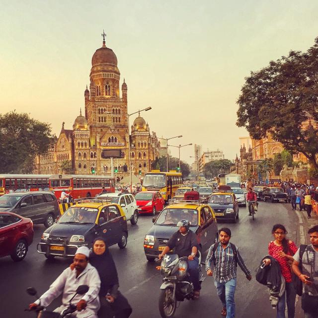 """""""Dusk traffic in Mumbai, India"""" stock image"""