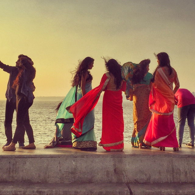 """Indian teenagers on Ocean Drive, Mumbai"" stock image"