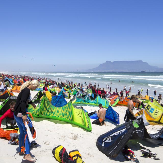"""Kitesurfer gathering at Dolphin Beach, Cape Town - Virgin Kitesurfing Armada January 2016"" stock image"