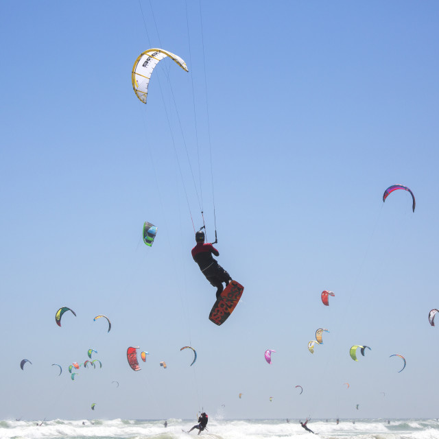 """Flying into the record books at the Virgin Kitesurfing Armada South Africa"" stock image"