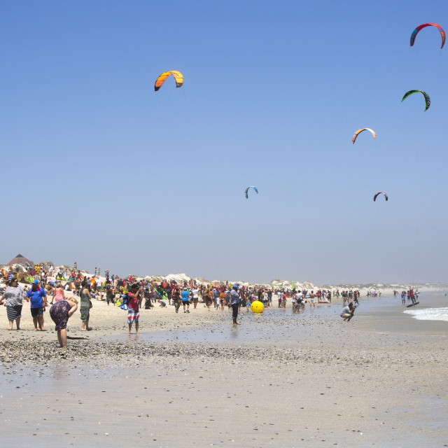 """""""Supporter crowds at the January 2016 Virgin Kitesurfing Armada South Africa"""" stock image"""