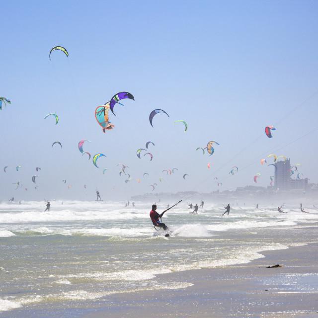 """Kites dancing at the January 2016 Virgin Kitesurfing Armada South Africa"" stock image"