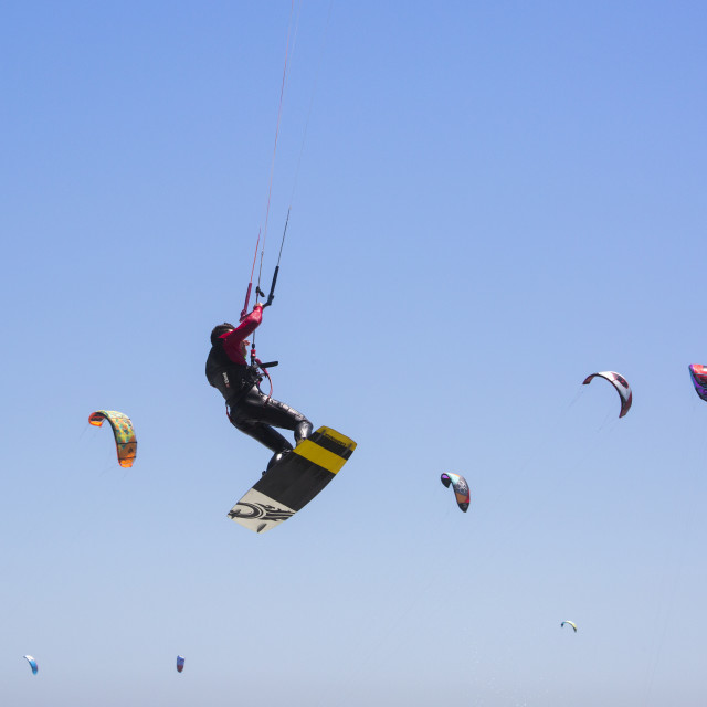 """Soaring into the Guinness World Record Book - Kitesurfing Armada"" stock image"