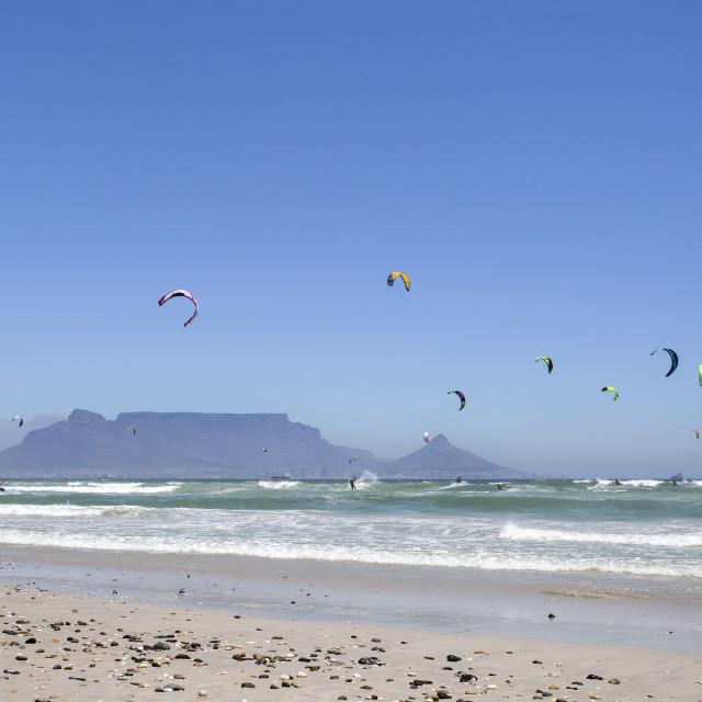 """Breaking the World Record - Virgin Kitesurfing Armada South Africa"" stock image"