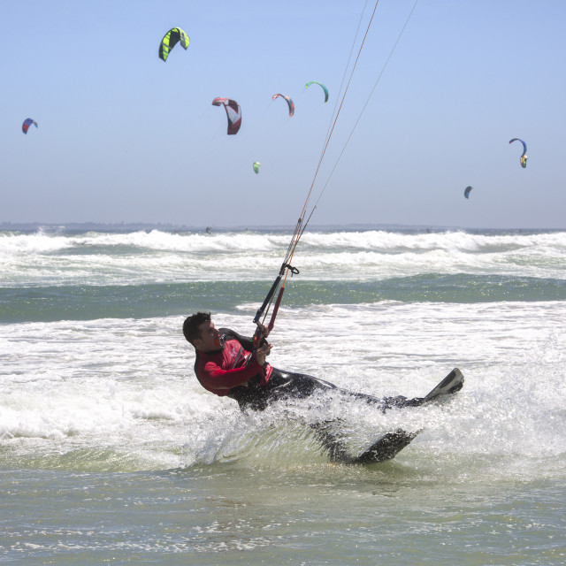 """""""Approaching the world record in the Virgin Kitesurfing Armada South Africa"""" stock image"""