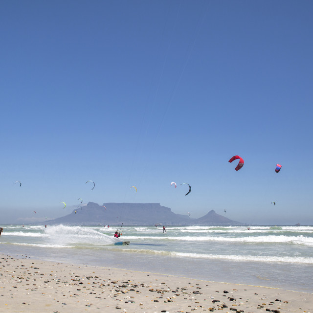 """Table Mountain as Backdrop to the Virgin Kitesurfing Armada - New World Record Set"" stock image"