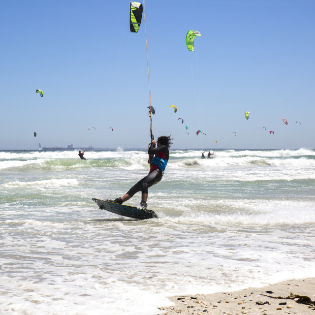"""""""Action at the Virgin Kitesurfing Armada South Africa - world record breaker"""" stock image"""
