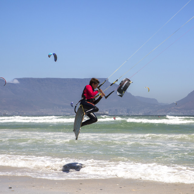"""""""Jumping into the record books - Virgin Kitesurfing Armada South Africa"""" stock image"""