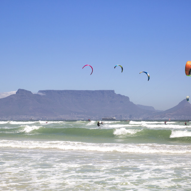 """""""Waves Wind and Water for Kitesurfing in Cape Town"""" stock image"""