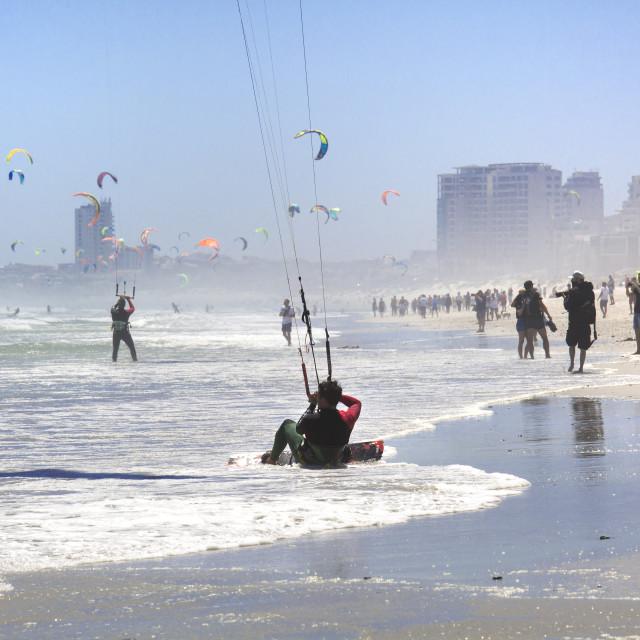 """Beach action at the January 2016 Virgin Kitesurfing Armada"" stock image"