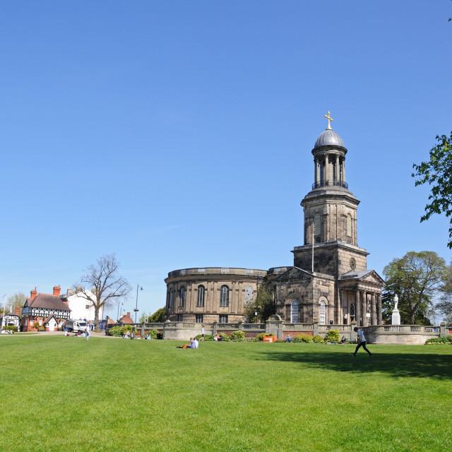 """""""St. Chads Church viewed from Quarry Park, Shrewsbury, UK"""" stock image"""