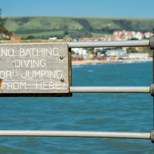 """No bathing sign"" stock image"