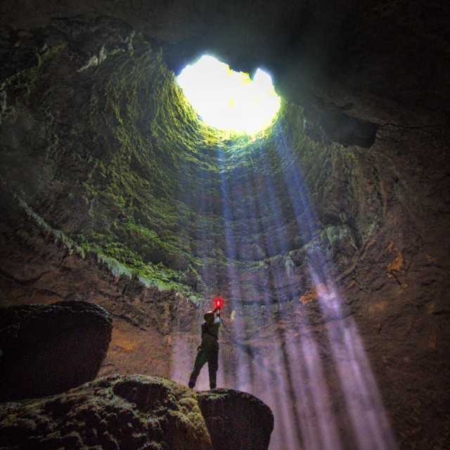 """""""The Cave Explorer"""" stock image"""
