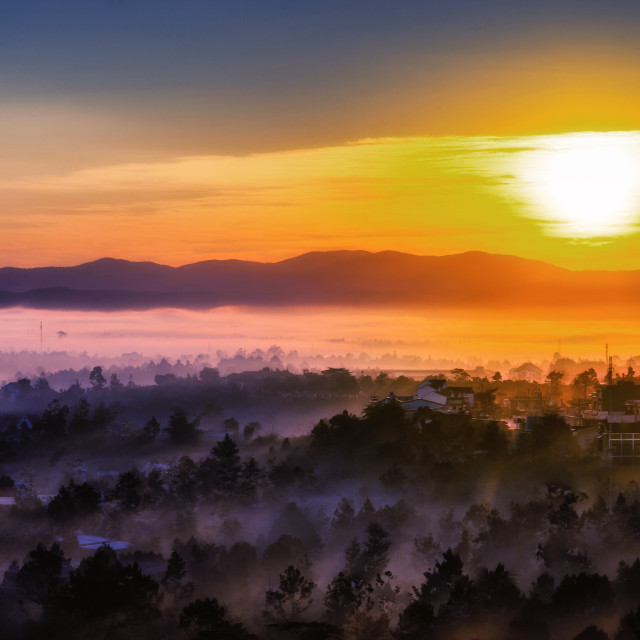 """Sunrise at Bao Loc City"" stock image"