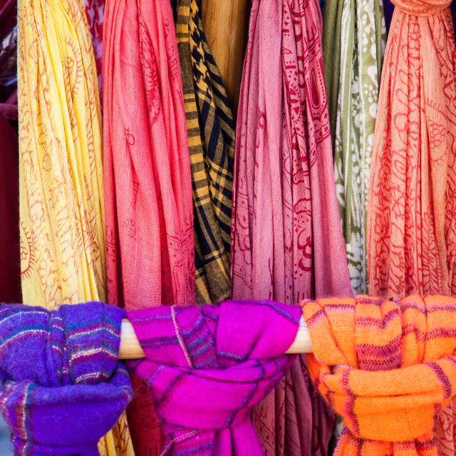 """Coloured Scarves for Sale"" stock image"
