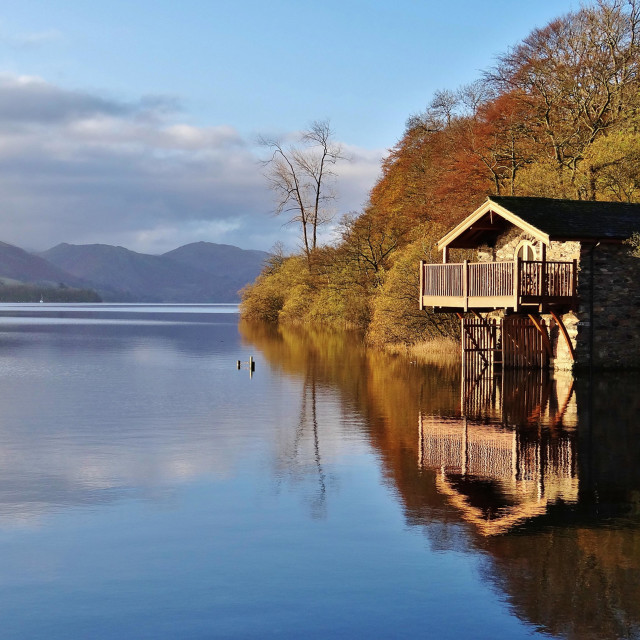 """Duke of Portland Boathouse, Ullswater, Lake District"" stock image"