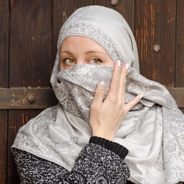 """""""Beautiful muslim girl wearing hijab"""" stock image"""
