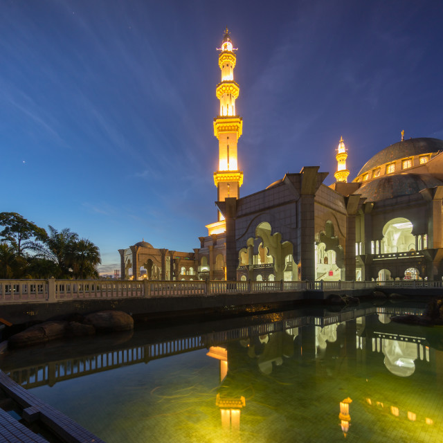 """Blue Hour Sunrise at Federal Territory Mosque Kuala Lumpur"" stock image"