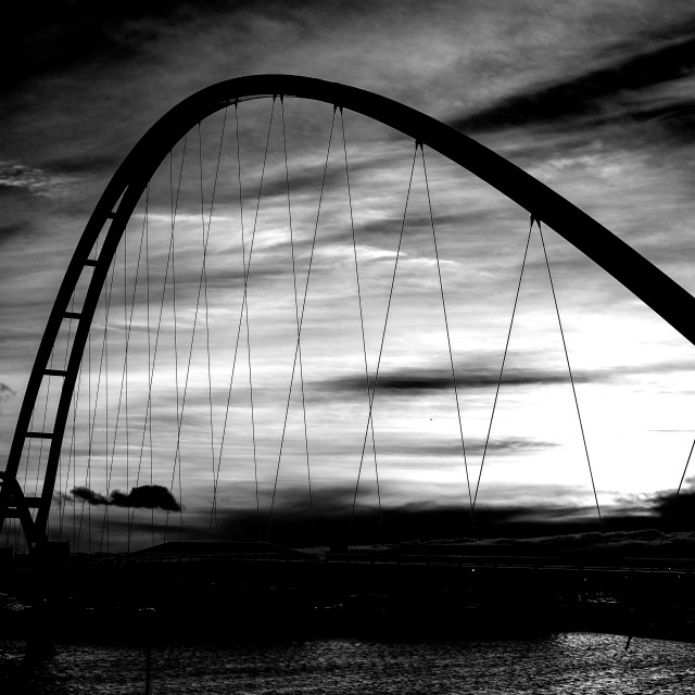 """Infinity Bridge Sunset Mono"" stock image"