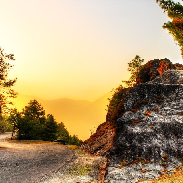 """Road Between Two Hills"" stock image"
