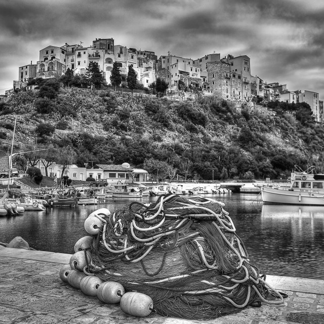 """Sperlonga italian fishing village harbor monochrome"" stock image"
