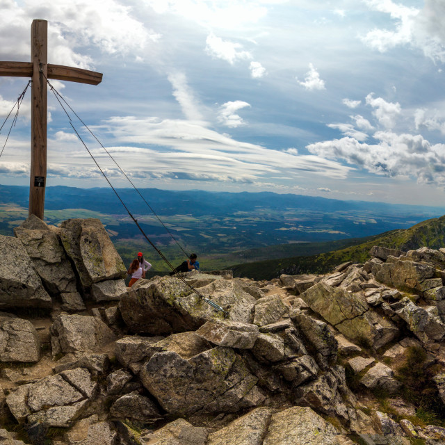 """Cross on Solisko peak panorama"" stock image"