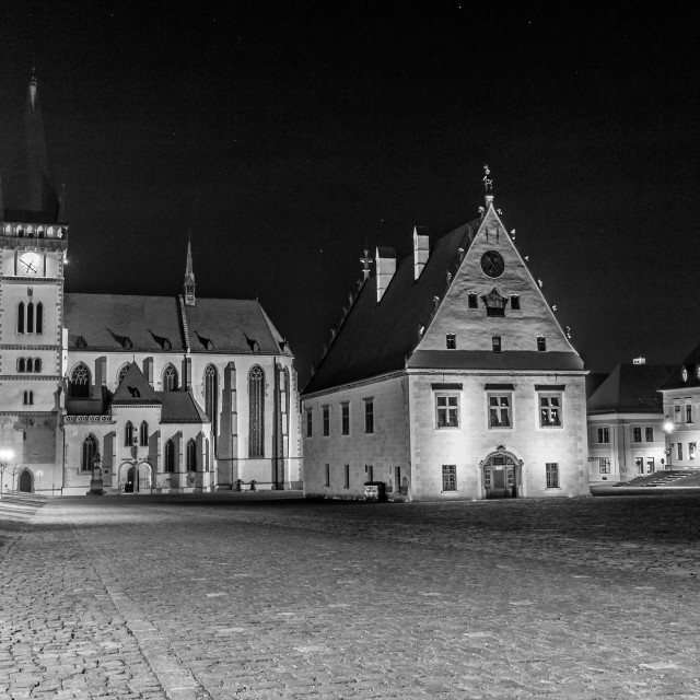 """""""The Town Hall Square in Bardejov"""" stock image"""