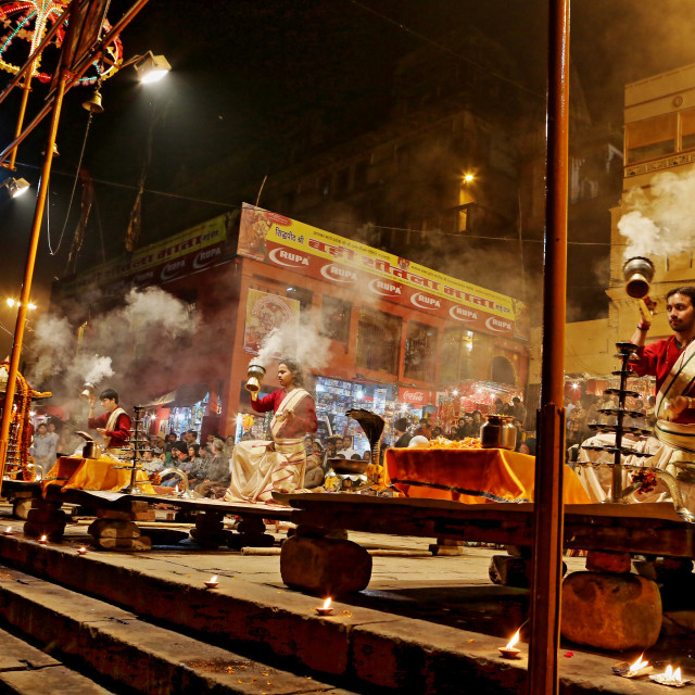 """GANGA AARATI AT VARANASI, INDIA"" stock image"