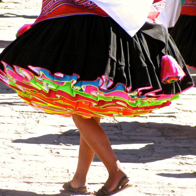 """""""Peru typical perruvian colored skirt woman dancing"""" stock image"""