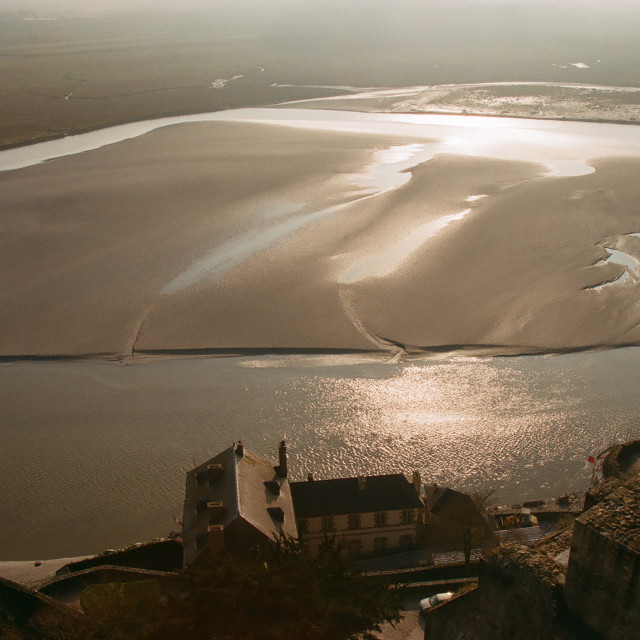 """""""View from Mont Saint Michel"""" stock image"""