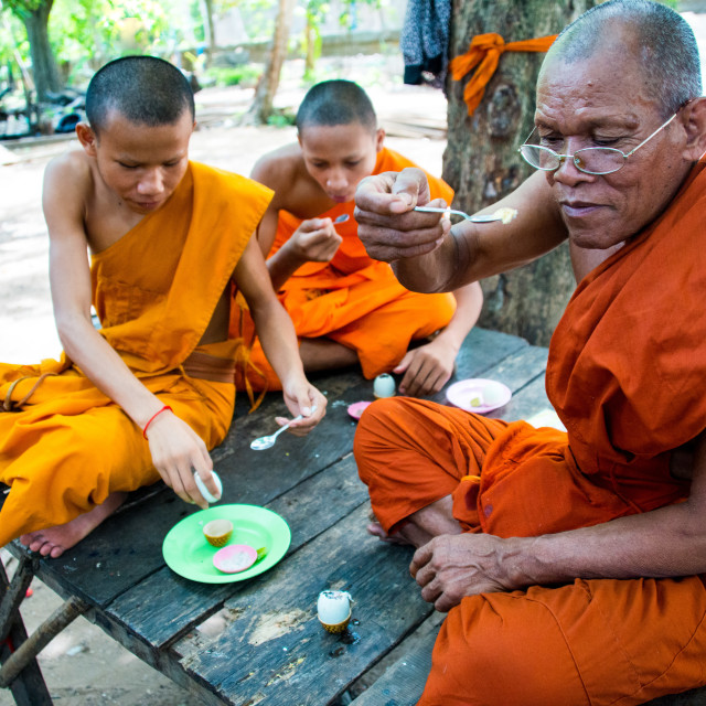 """buddhist monks having a snack"" stock image"