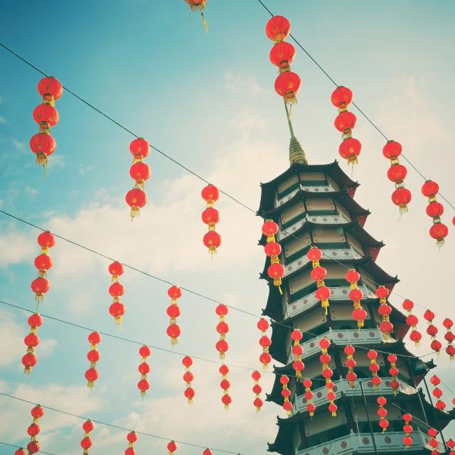 """Retro pagoda and chinese new year lanterns"" stock image"