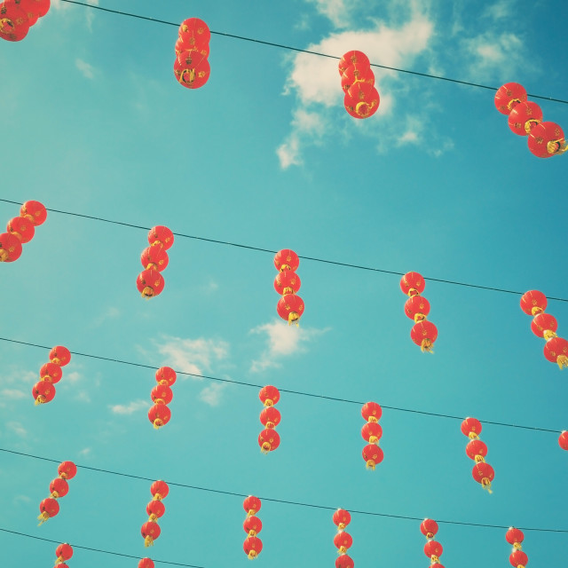 """Chinese lanterns retro"" stock image"