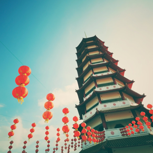 """Retro pagoda and chinese new year lanterns"" stock image"