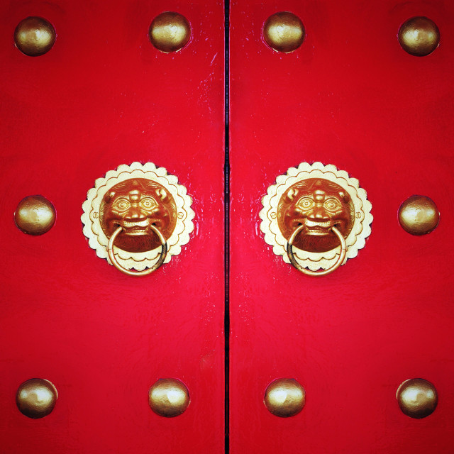 """Chinese door with vignette and filter effect"" stock image"