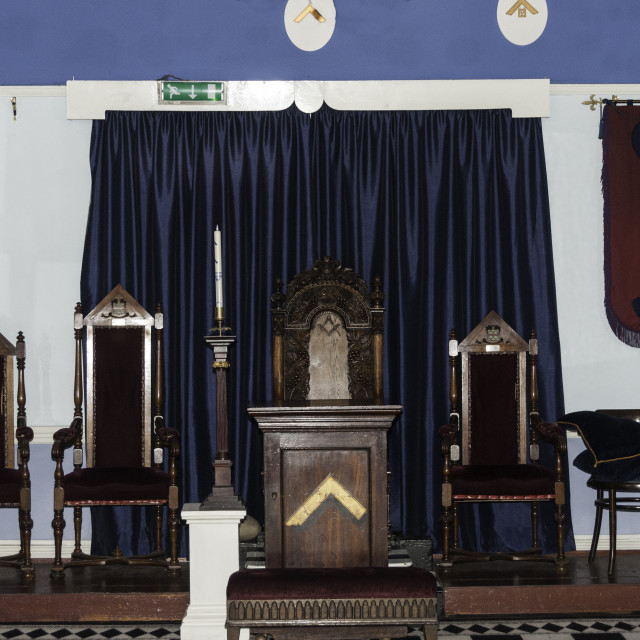 """English Freemason Lodge room"" stock image"