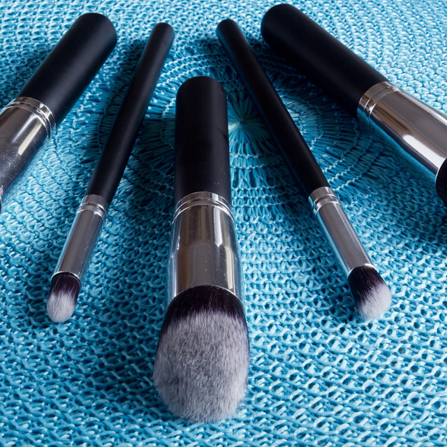 """Classic set of brushes for cosmetics"" stock image"