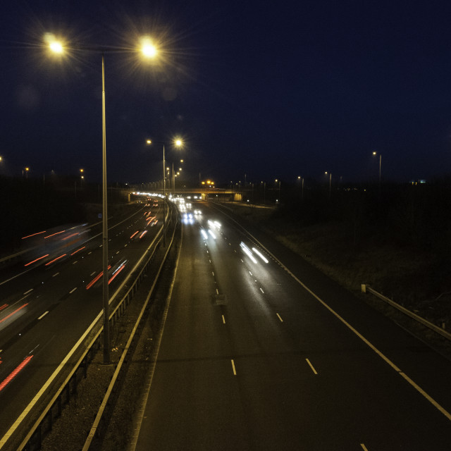 """M6 near Coventry at night"" stock image"