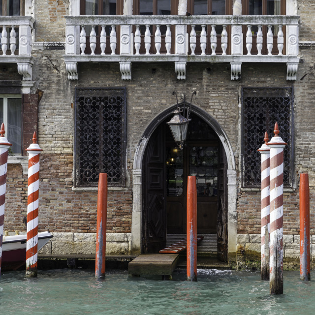 """Mooring stage on the Grand Canal, Venice"" stock image"