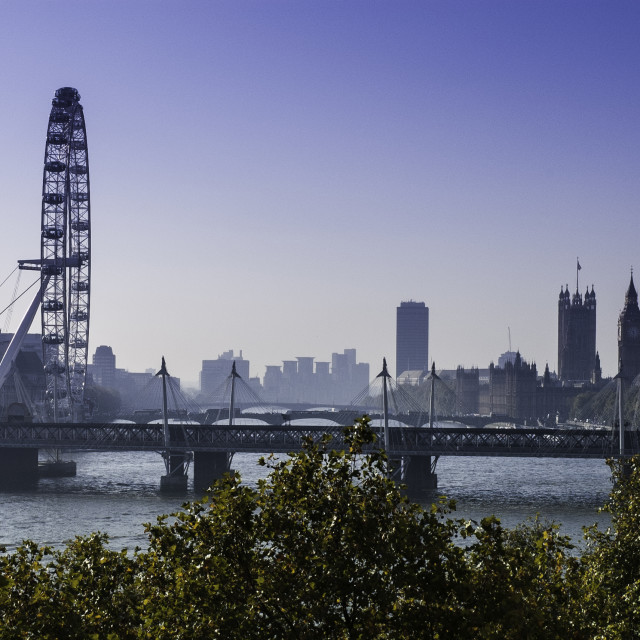 """London Eye from Savoy place"" stock image"