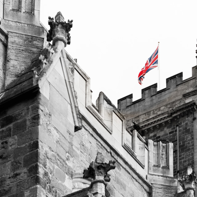 """Cathedral and Union Flag"" stock image"