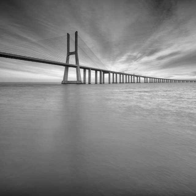 """Black and white bridge"" stock image"
