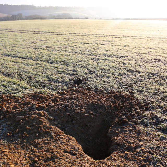 """Badger Den Burrow in Farmer's Sunny Frosty Field"" stock image"