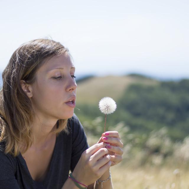 """Brunette girl blowing a dandelion in the field"" stock image"