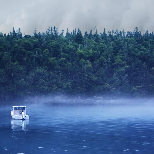 """""""Fishing boat on misty lake"""" stock image"""