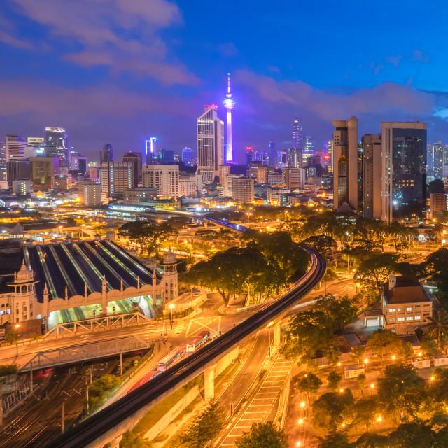 """beautiful sunrise at Kuala Lumpur city centre"" stock image"