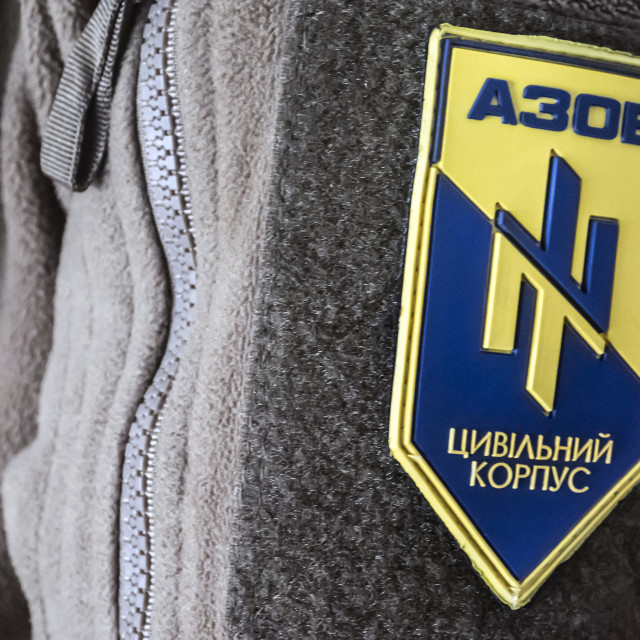 """Chevron member of the Volunteer Regiment ""Azov"""" stock image"