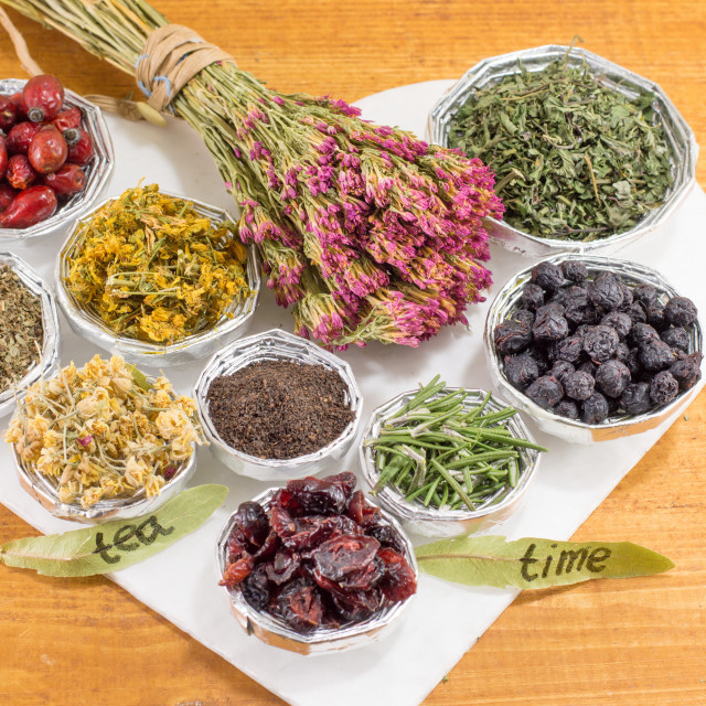 """Tea time, bunches of raw herbal tea"" stock image"